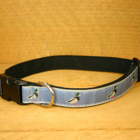 SLATE BLUE MALLARD Hemp Conservation Canvas  Ribbon Collar