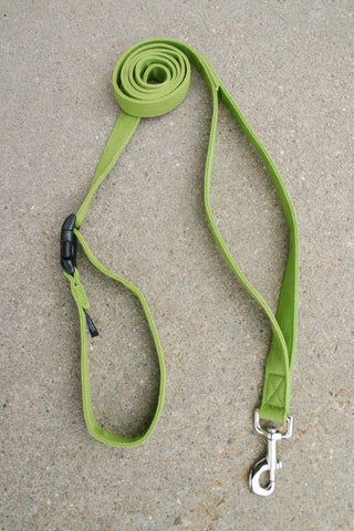 Basic Green Hemp Canvas Happy Camper 10' Leash w/ control loop & clasp | The Good Dog Company