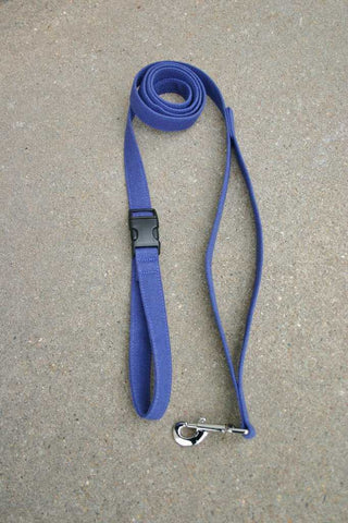 Basic Blue Hemp Canvas City Clicker 6 Ft Leash with control loop & clasp