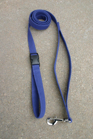 Hemp Dog Leash 10' Basic Blue Canvas with clasp and control loop