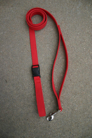 Basic Red Hemp Canvas City Clicker 6'Leash with control loop & clasp