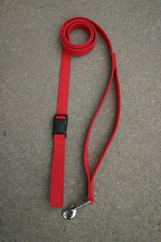 Basic Red Hemp Canvas Happy Camper 10' Leash w/ control loop & clasp