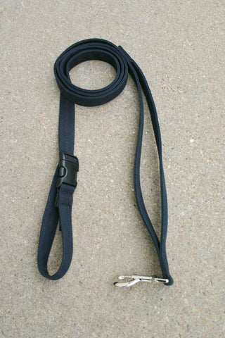 Basic Black Hemp Canvas City Clicker 6'Leash with control loop & clasp