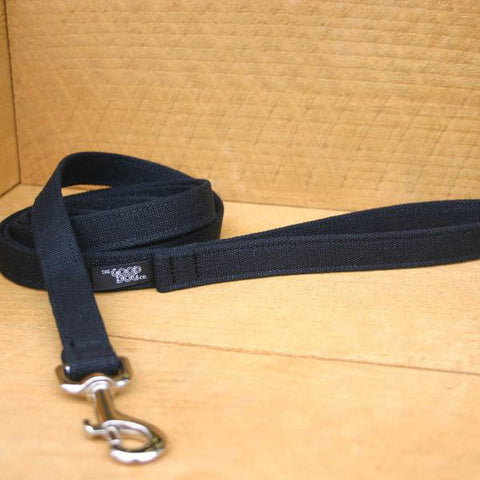 Basic Black Hemp Canvas 6 foot Leash | The Good Dog Company