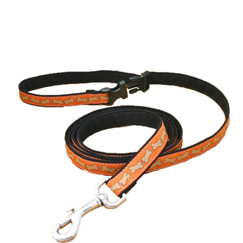 Hemp Orange Bones ClickNGo Leash