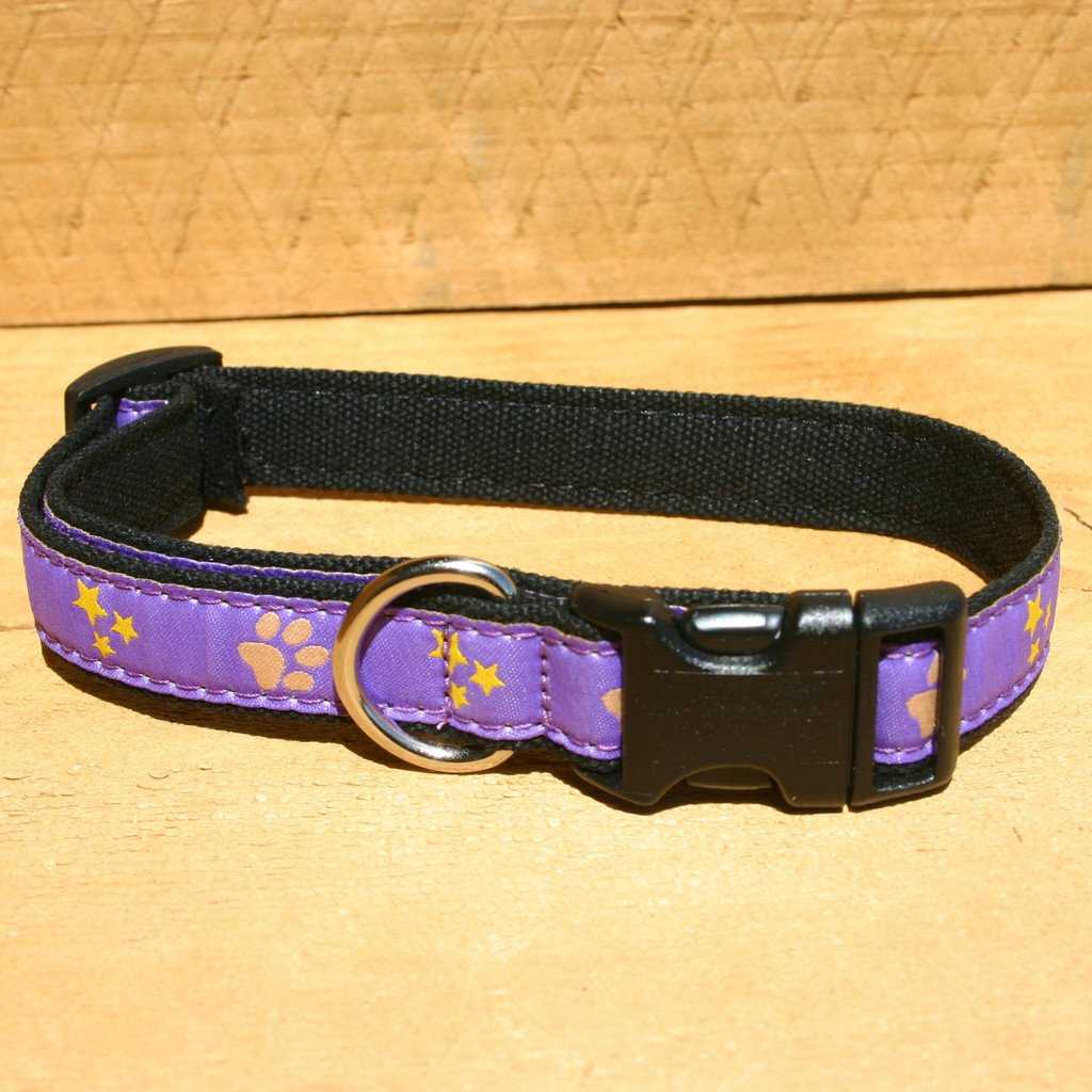 Hemp Dog Collar Paws and Stars