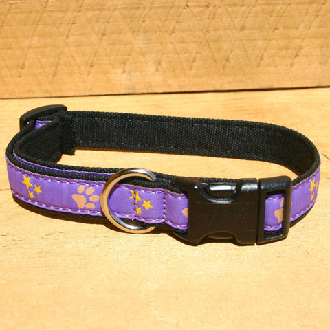 Paws and Stars Hemp Canvas Ribbon Collar | The Good Dog Company