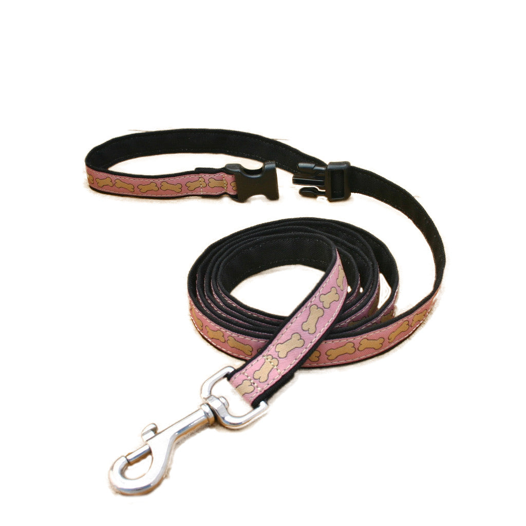 Hemp Pink Bones  ClickNGo Leash