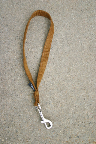 "Hemp Dog Short Leash Bronze Corduroy 14"" City Leash"
