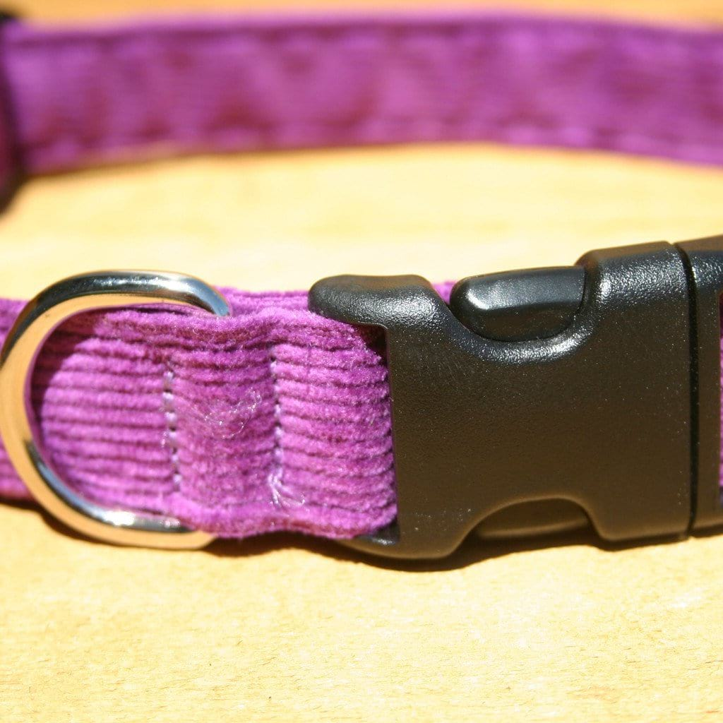 Hemp Dog Collar Plum Corduroy