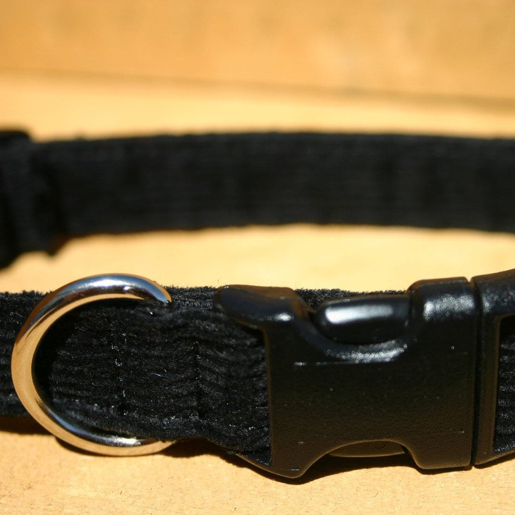 Hemp Dog Collar Black Corduroy