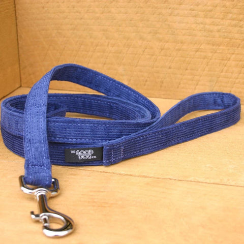 Hemp Dog Leash Blue Corduroy