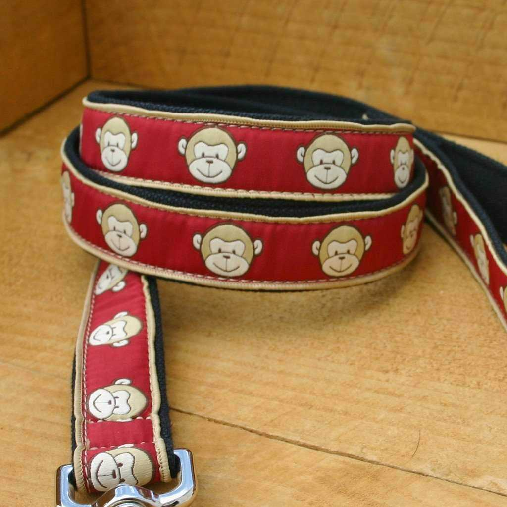 Hemp Dog Leash 6' Garnet Monkey ClickNGo