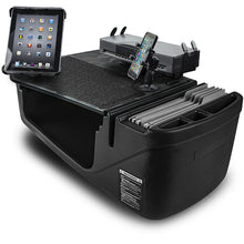Load image into Gallery viewer, Efficiency GripMaster Black Built-in Power Inverter, Printer Stand, X-Grip Phone Mount and iPad/Tablet Mount