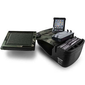 Reach Desk Front Seat Green Camouflage Built-in Power Inverter, Printer Stand & Universal iPad/Tablet Mount