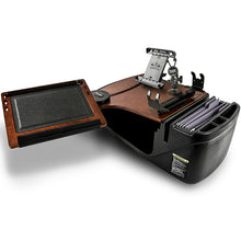 Load image into Gallery viewer, Reach Desk Front Seat Mahogany Built-in Power Inverter, Printer Stand & Universal iPad/Tablet Mount