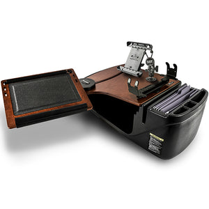 Reach Desk Front Seat Mahogany Built-in Power Inverter, Printer Stand & Universal iPad/Tablet Mount