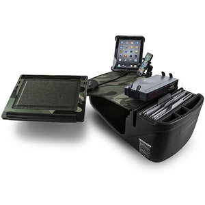 Reach Desk Front Seat Green Camouflage Built-in Power Inverter, Printer Stand, X-Grip Phone Mount & Universal iPad/Tablet Mount