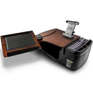 Reach Desk Front Seat Mahogany Built-in Power Inverter, Printer Stand & X-Grip Phone Mount