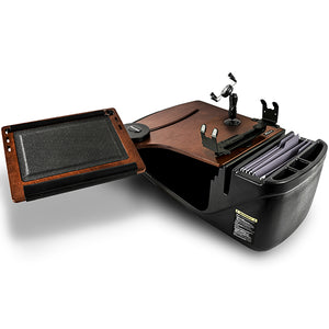 Reach Desk Front Seat Mahogany Built-in Power Inverter & X-Grip Phone Mount