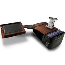 Load image into Gallery viewer, Reach Desk Back Seat Mahogany Printer Stand & Universal iPad/Tablet Mount