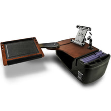 Load image into Gallery viewer, Reach Desk Back Seat Mahogany Built-In Power Inverter, X-Grip Phone Mount, Tablet Mount & Printer Stand*