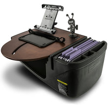 Load image into Gallery viewer, RoadMaster Car Mahogany Built-in Power Inverter, X-Grip Phone Mount & Printer Stand