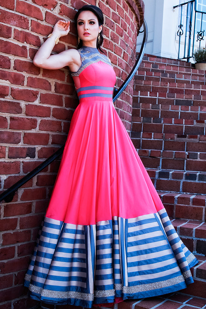 Flared pink gown