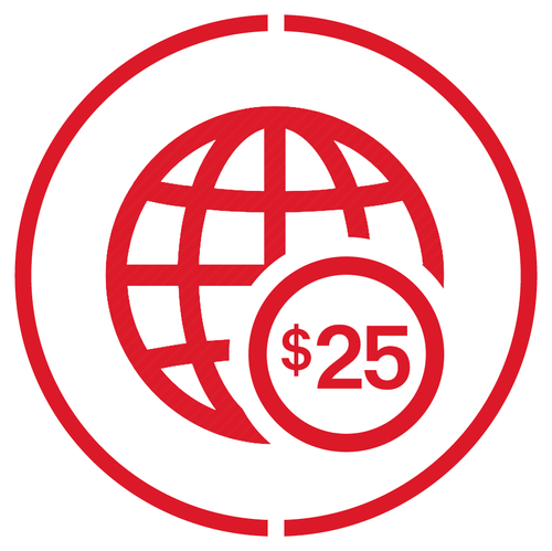 $25 Overseas Credit