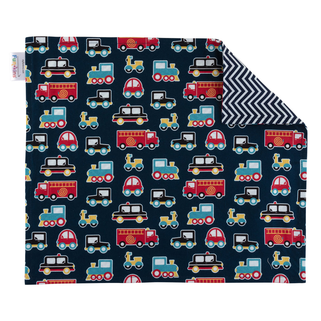 Funkins Reusable Cloth Placemats for Kids, Set of 2, Transportation