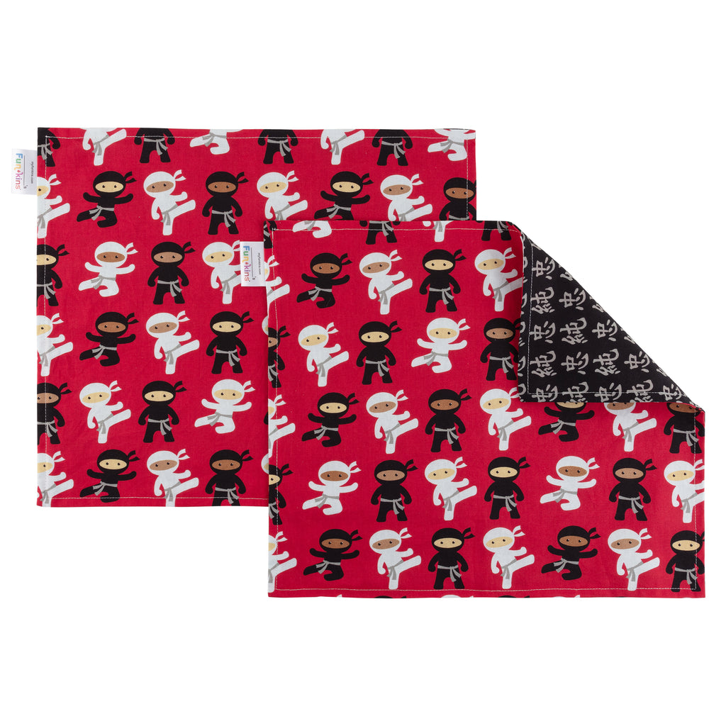 Funkins Reusable Cloth Placemats for Kids, Set of 2, Ninja Friends