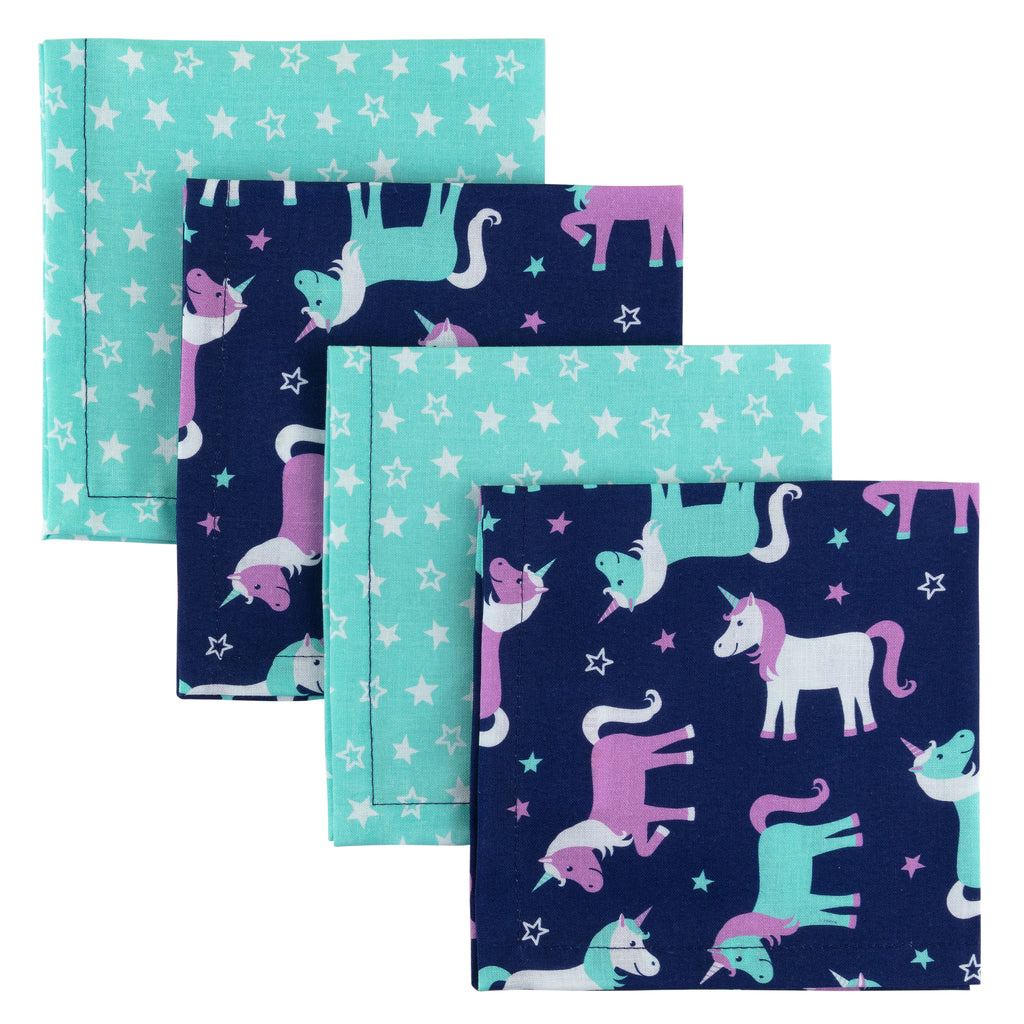 Funkins Reusable Cloth Napkins for Kids, Single-Ply, Set of 4, Magical Unicorns