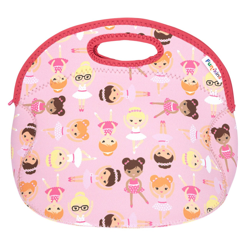 Funkins pink ballerina dancers kids insulated machine washable lunch bag