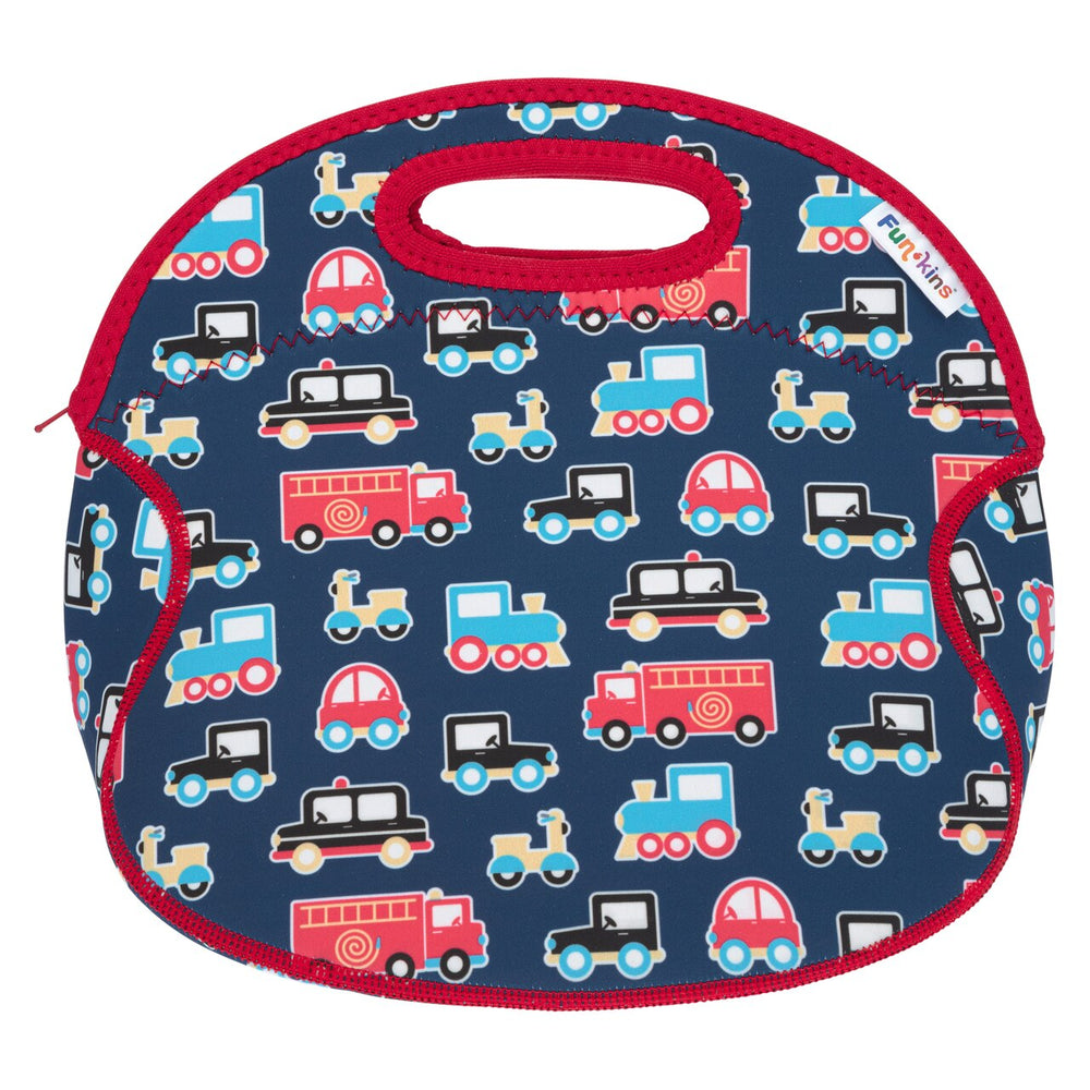 Funkins blue transportation station kids insulated machine washable lunch bag