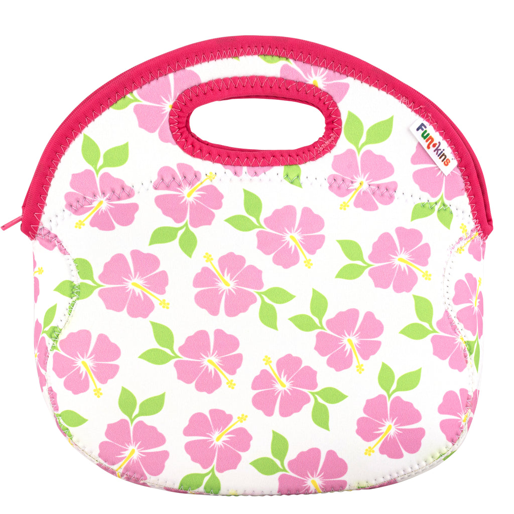 Hibiscus, White Lunch Bag