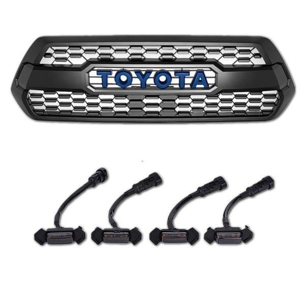 3rd GEN Tacoma Trd Pro Grill with TSS Garnish plus LED Raptor Lights (Fits: 2016-2021)