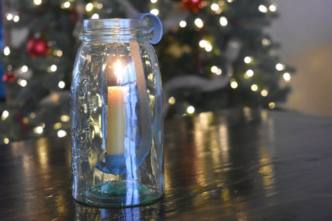 Mason Jar Barn Roof Grey Taper Candle Holder