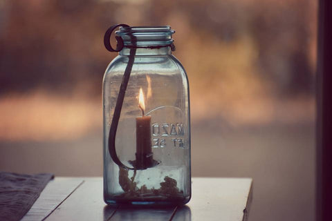 Mason Jar Half Gallon Black Taper Candle Holder