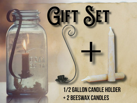 Mason Jar Half Gallon Black Taper Candle Holder PLUS 2 Beeswax Taper Candles