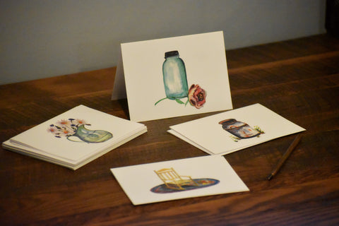 Hand Painted Note Cards - Homestead Set