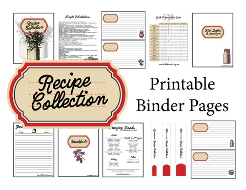 Old Fashioned Red Recipe Binder Pages (Instant Download)