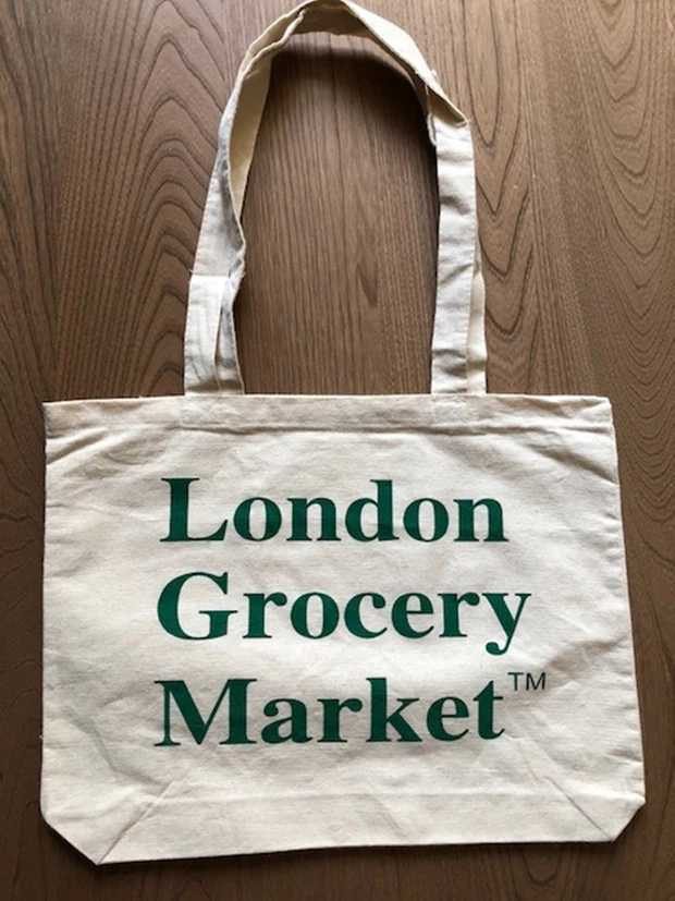 London grocery market tote bag