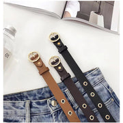Round buckle wide hole belt