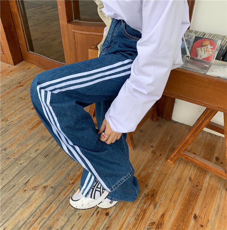 Triple striped oversized jeans