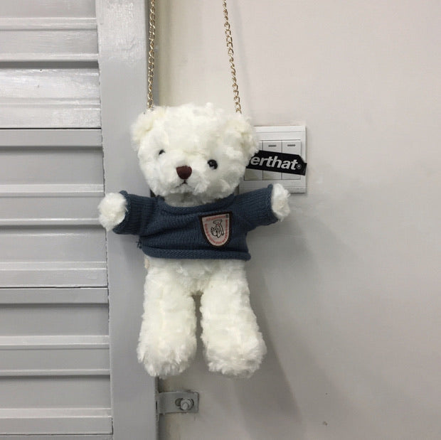 Fuzzy white bear bag