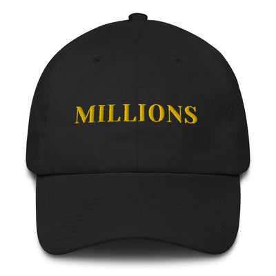 Millions Curived Brim Hat (Gold Text)
