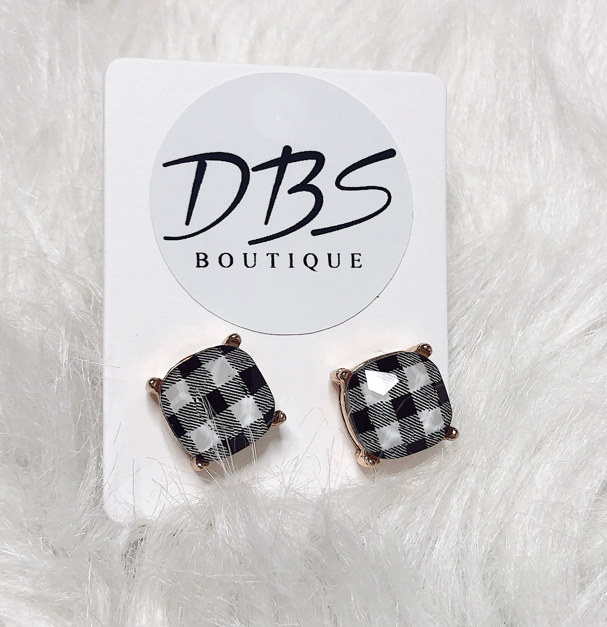 Home for the Holidays Buffalo plaid stud earrings