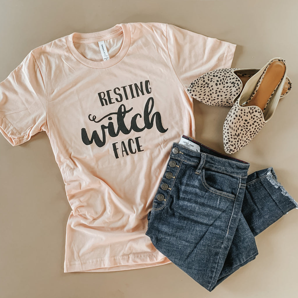 Mama Resting Witch Face Peach Tees