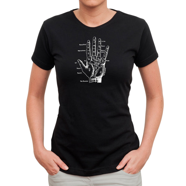 Palmistry Hand T Shirt for Women on Black
