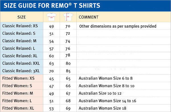 REMO T Shirt Size Guide